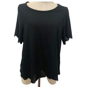 Topshop black scalloped hem t-shirt top